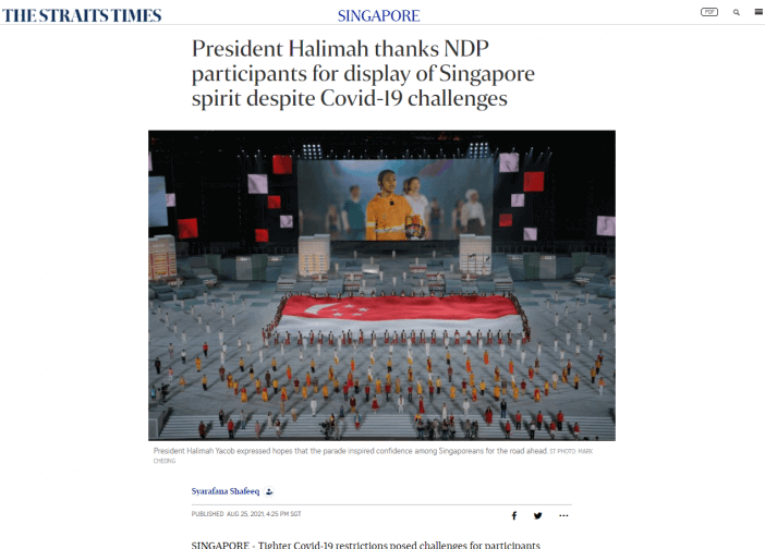 President Halimah thanks NDP participants for display of Singapore spirit despite Covid-19 challenges